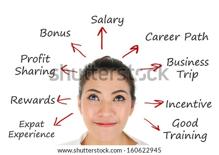Successful business woman with reward development plan for career path - stock photo