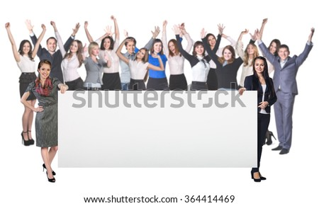 Successful business women holds empty blank  - stock photo