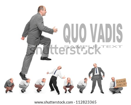 Successful businessman. Business rivalry concept. Picture with space for your text. - stock photo
