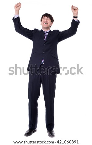 Successful businessman celebrating - isolated over a white background - stock photo