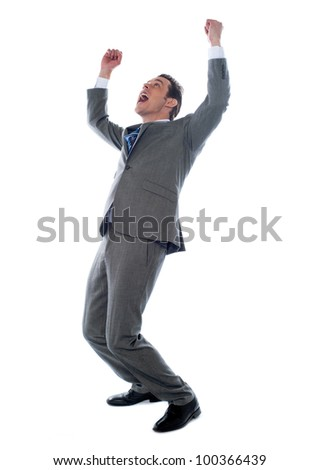 Successful businessman celebrating with arms up isolated over a white background - stock photo
