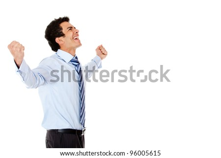 Successful businessman celebrating with arms up - isolated over a white background