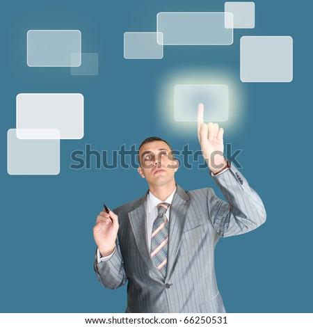 successful businessman choose new information internet technology - stock photo