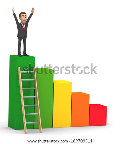 successful businessman climbed on chart - stock photo