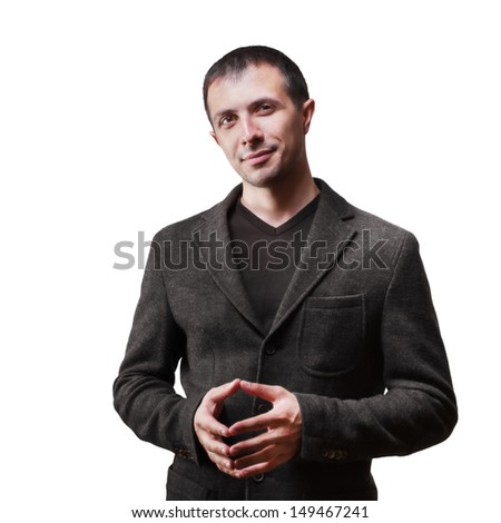 Successful businessman gesturing against white background - stock photo