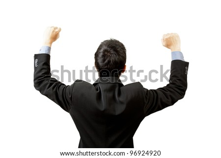 successful businessman hands up on white background - stock photo