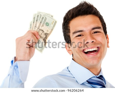 Successful businessman holding dollars - isolated over a white background - stock photo