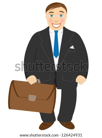 Successful businessman in a black suit and with a portfolio in hands