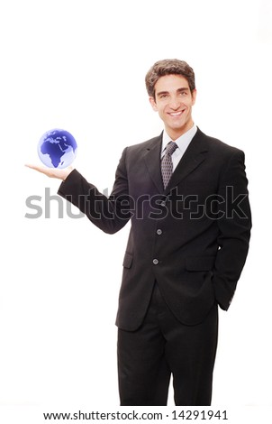 Successful businessman in black suit - stock photo