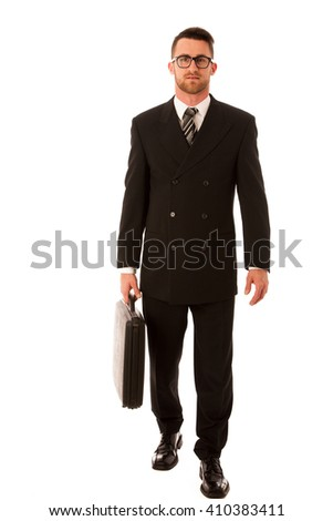Successful businessman in formal suit and briefcase, suitcase confidently standing isolated over white. - stock photo
