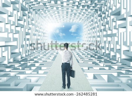 Successful businessman in front of a complicated labyrinth - stock photo