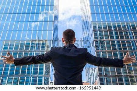 Successful businessman in the city  - stock photo