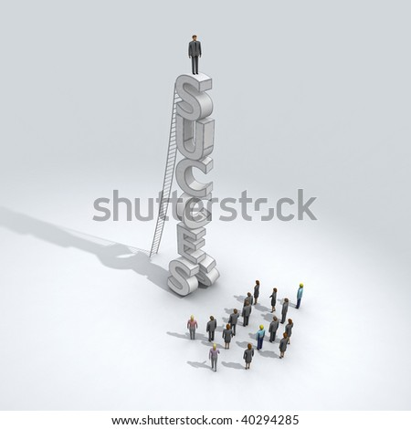 successful businessman on a top - stock photo
