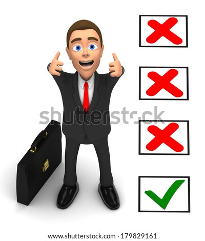 successful businessman received approval - stock photo