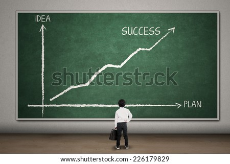 Successful businessman see the balance chart between plan and idea