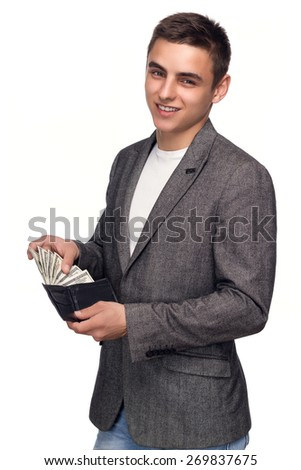 Successful Businessman Showing Money From Her Wallet - stock photo