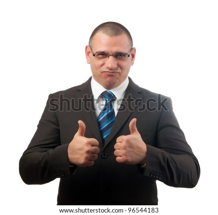 Successful businessman showing thumbs up isolated on white. - stock photo