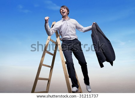 Successful businessman standing on a ladder , over blue sky background