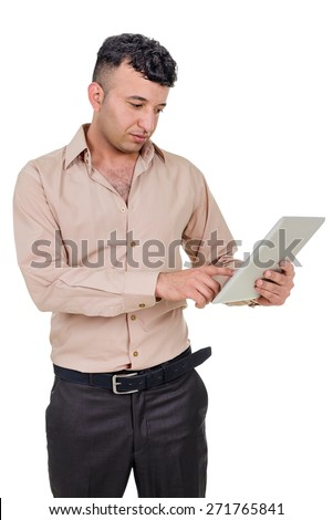 Successful businessman using a palmtop computer isolated on white background.