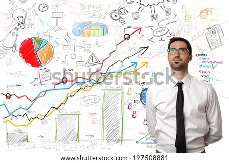 Successful businessman with a new business project - stock photo