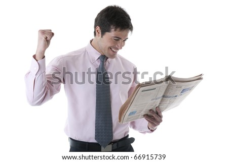 Successful Businessman With Newspaper, isolated on white - stock photo