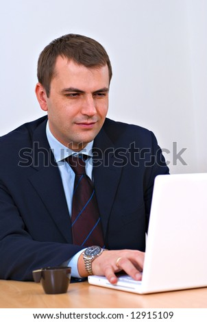 Successful businessman working on a lap-top