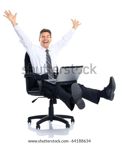 Successful businessman  working with laptop. Over white background
