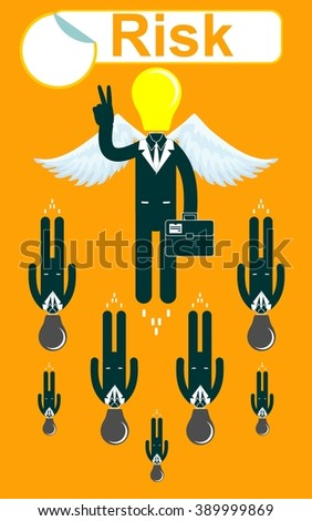 Successful Businessmen flying with a wings and victory signt. Stock illustration  - stock photo