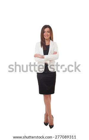 Successful businesswoman isolated on white - stock photo
