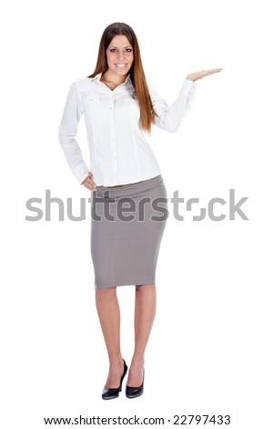 Successful businesswoman presenting something on her hand. - stock photo