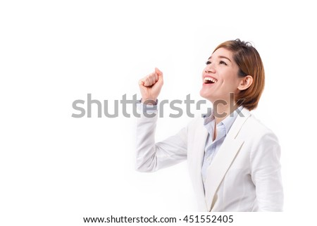 successful businesswoman shouting, speaking, looking up, studio isolated of asian female model