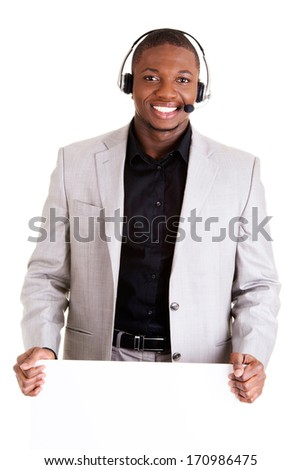 Successful call center worker with blank board, isolated on white - stock photo
