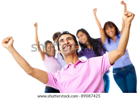 Successful casual group with arms up - isolated over a white background - stock photo