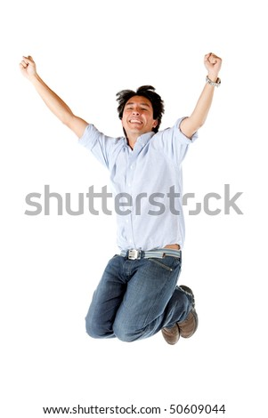 Successful casual man jumping - isolated over a white background - stock photo