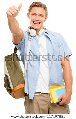 Successful college student back to school thumbs up isolated on white background - stock photo