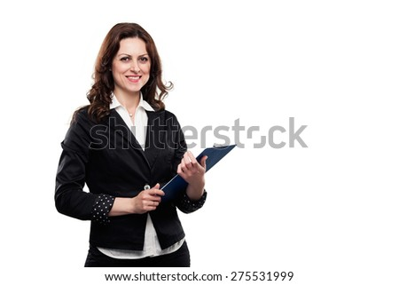 Successful confident businesswoman smiling and holding a file in her hands. Isolated on white. - stock photo