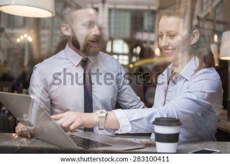 Successful corporation of young business team  - stock photo