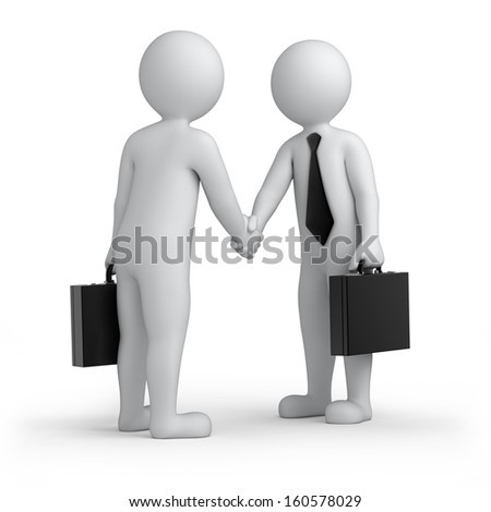 successful deal, two 3d human shaking hands, isolated on white with a work path - stock photo