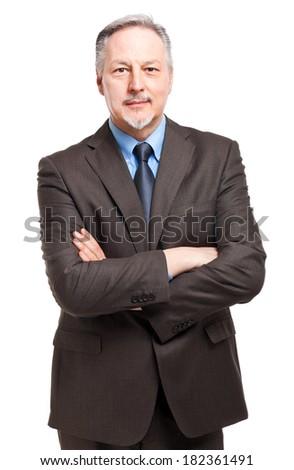 Successful elder businessman isolated on white  - stock photo