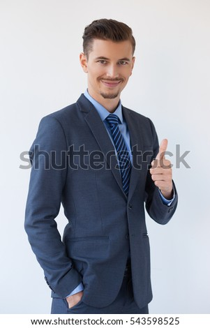 Successful Elegant Business Man Showing Thumb Up