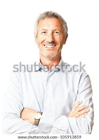 Successful elegant smiling mature casual man portrait isolated on white background - stock photo