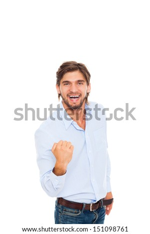Successful excited business man happy smile hold fist ok yes gesture with hands arms, handsome young businessman, wear blue shirt casual jeans isolated over white background - stock photo