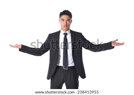 Successful excited business man happy smile hold wide open palm gesture,