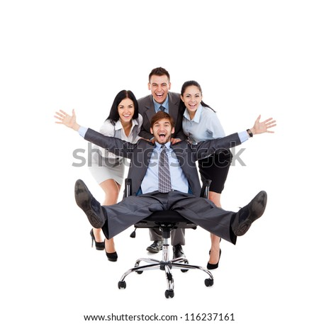 Successful excited Business people group team push colleague sitting in chair, young businesspeople smile raised hands arms, Isolated over white background, concept of leader success collaboration