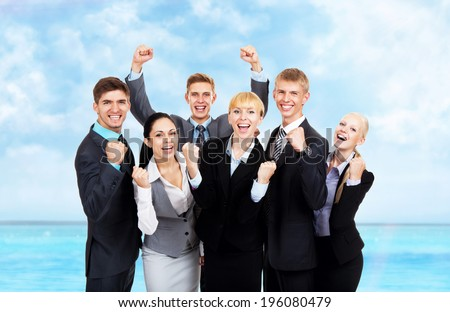 Successful excited Business people group team summer ocean vacation, young businesspeople travel smile hold fist ok yes gesture with raised hands arms, over sea blue sky - stock photo