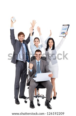 Successful excited Business people group team with colleague sitting in chair, young businesspeople smile raised hands arms, Isolated over white background, concept of leader success collaboration - stock photo