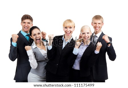 Successful excited Business people group team, young businesspeople standing together smile hold fist ok yes gesture with raised hands arms, Isolated over white background - stock photo