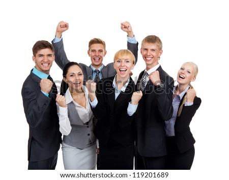 Successful excited Business people group team, young businesspeople standing together smile hold fist ok yes gesture with raised hands arms, Isolated over white background