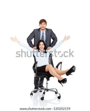 Successful excited Business people team, businessman push colleague sitting in chair, young businesswoman smile raised hands arms, Isolated over white background, concept leader success collaboration