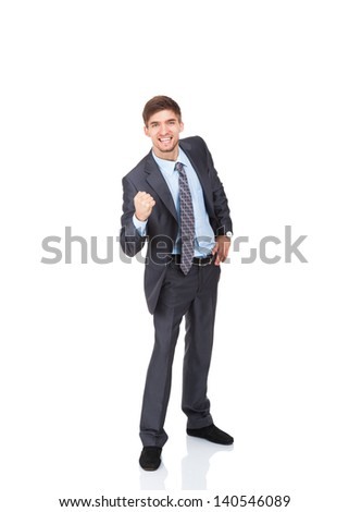 successful excited young business man hold fist ok yes gesture, portrait of businessman happy smile with raised arm hand up, full length isolated over white background